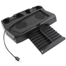 Подставка для консоли PlayStation 5 Digital Edition RED-LINE с охлаждением, с двумя зарядными станциями для геймпадов,черная (HS-PS5019)