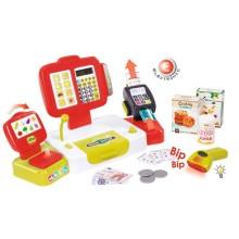 Игровой набор Smoby Электронная касса с весами, красная, 27 аксессуаров (350107)