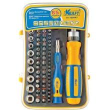Отверточная рукоятка Kraft с насадками, 65 предметов (KT 700447)